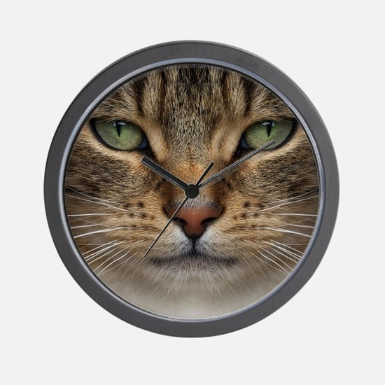 Tabby Cat Face Wall Clock