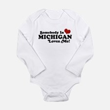 Cute Someone in michigan loves you Long Sleeve Infant Bodysuit