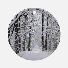 Winter Forest Path Round Ornament