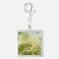 Easter Landscape Silver Square Charm