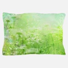 Green Watercolor Floral Pillow Case