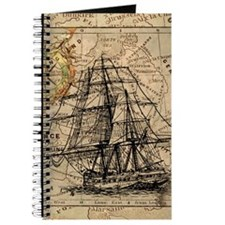 Vintage Map Ship Compass Journal