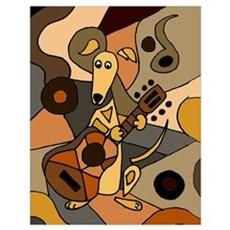 Greyhound Playing Guitar Art Poster