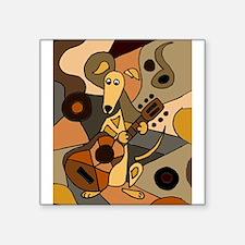 Greyhound Playing Guitar Art Sticker