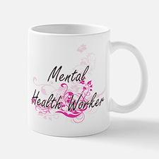 Mental Health Worker Artistic Job Design with Mugs