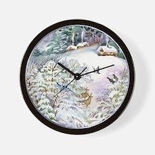 Watercolor Winter Scene Wall Clock
