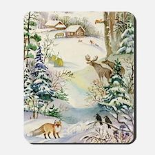 Watercolor Winter Wildlife Mousepad