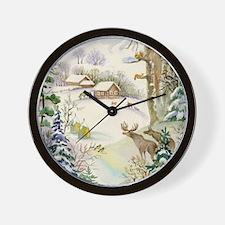 Watercolor Winter Wildlife Wall Clock