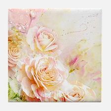 Watercolor Roses Tile Coaster
