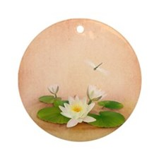 Lotus and Dragonfly Grunge Round Ornament