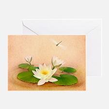Lotus and Dragonfly Grunge Greeting Card