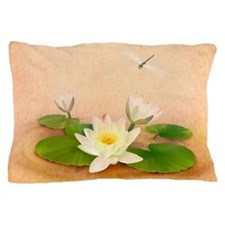 Lotus and Dragonfly Grunge Pillow Case