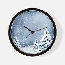 Cute Snowy Pine Trees Wall Clock