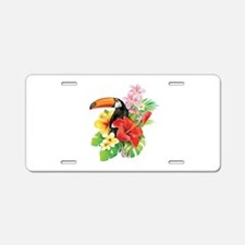 Tropical Toucan Collage Aluminum License Plate