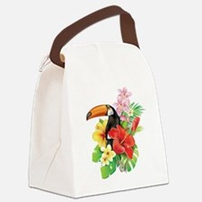 Tropical Toucan Collage Canvas Lunch Bag