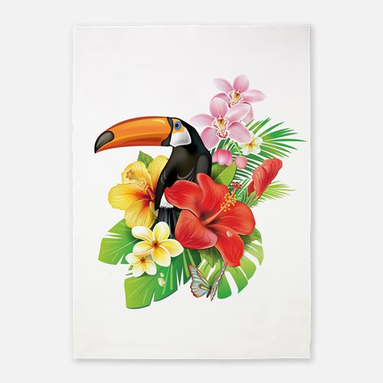 Tropical Toucan Collage 5'x7'Area Rug
