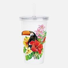 Tropical Toucan Collag Acrylic Double-wall Tumbler