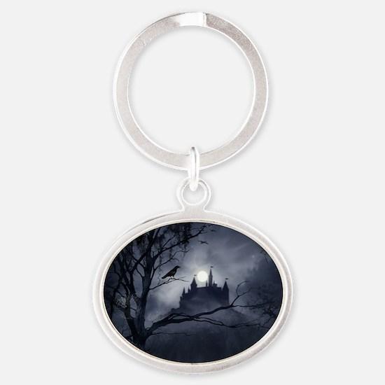 Gothic Night Fantasy Oval Keychain