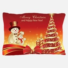 Christmas Wishes,Snowman And Candle Pillow Case