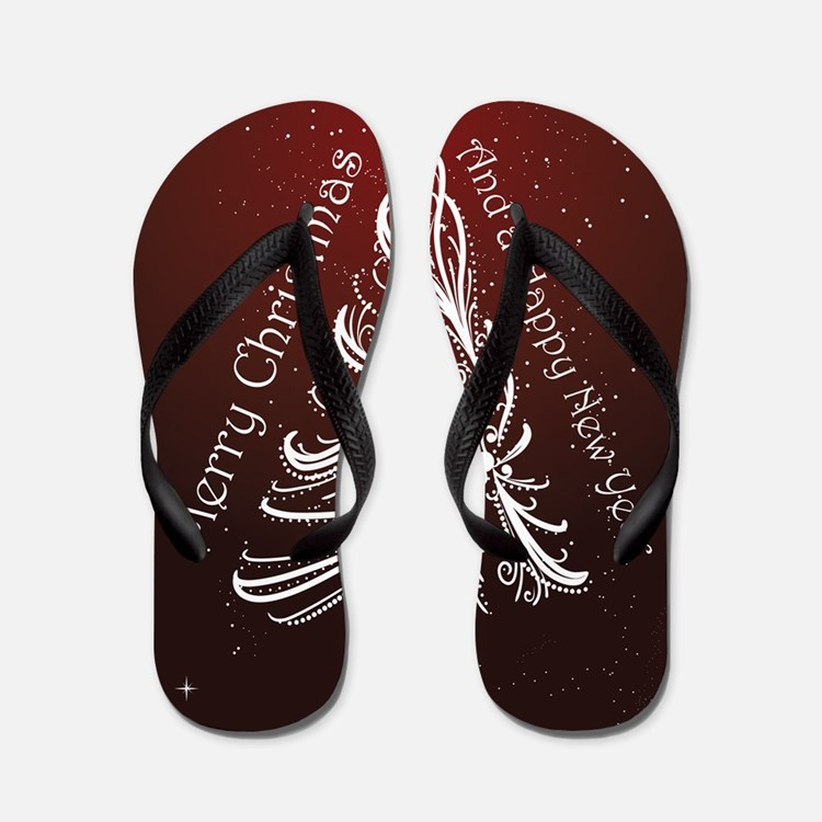 Christmas Tree And Wishes Flip Flops