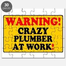 YELLOW SIGN - WARNING - CRAZY PLUMBER AT WO Puzzle