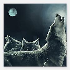 "Winter Wolves Square Car Magnet 3"" x 3"""