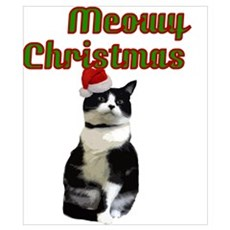 funny cat Meowy Christmas Poster