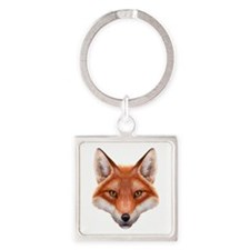 Red Fox Face Square Keychain