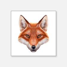 "Red Fox Face Square Sticker 3"" x 3"""