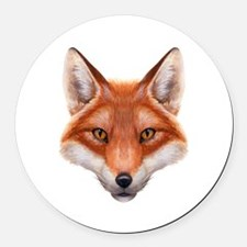 Red Fox Face Round Car Magnet