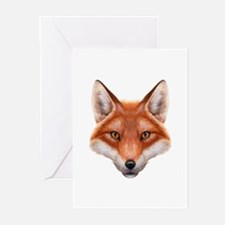 Red Fox Face Greeting Cards (Pk of 20)