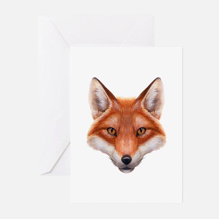 Red Fox Face Greeting Cards (Pk of 10)