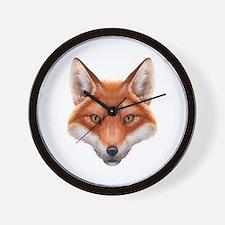 Red Fox Face Wall Clock
