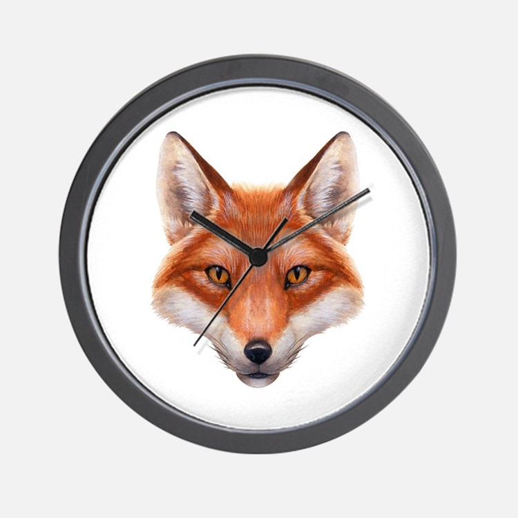 Red Fox Face Wall Clock
