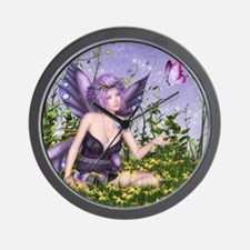 Purple Spring Fairy Wall Clock