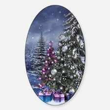 Christmas Landscape Sticker (Oval)