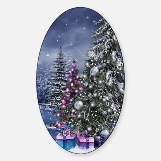 Christmas Landscape Sticker (Oval)