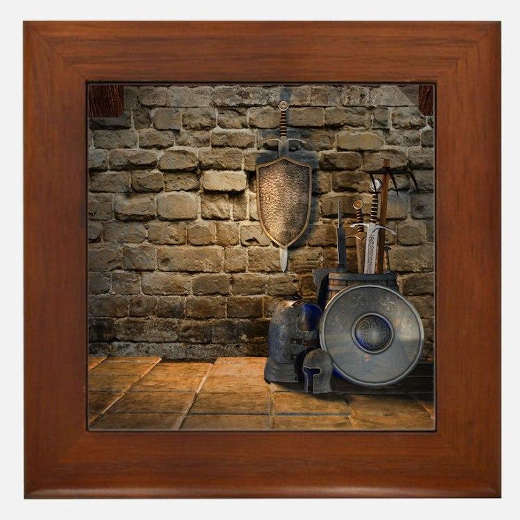 Medieval Weaponry Framed Tile