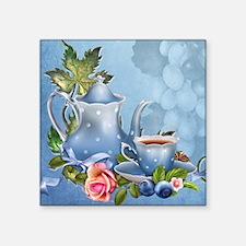 "Blue Tea Party Square Sticker 3"" x 3"""