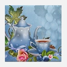 Blue Tea Party Tile Coaster
