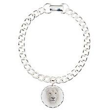 White Lion Head Charm Bracelet, One Charm