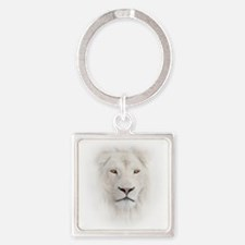 White Lion Head Square Keychain