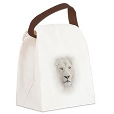 White Lion Head Canvas Lunch Bag