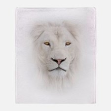 White Lion Head Throw Blanket