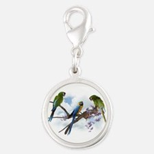 Macaw Parrots Silver Round Charm