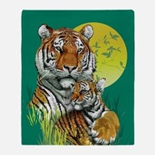 Tiger and Cub Throw Blanket