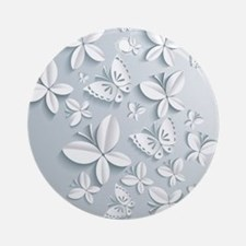 White Popup Butterflies Round Ornament