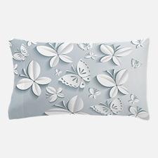 White Popup Butterflies Pillow Case