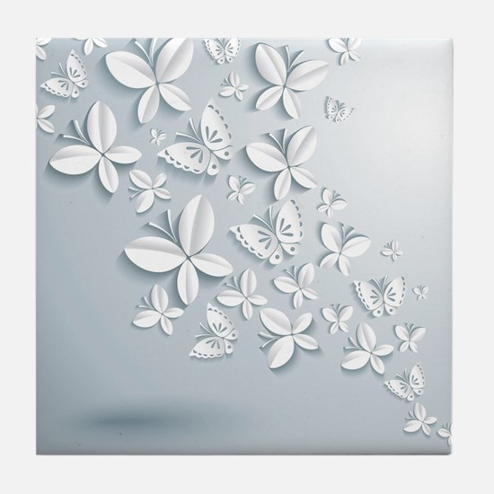 White Popup Butterflies Tile Coaster