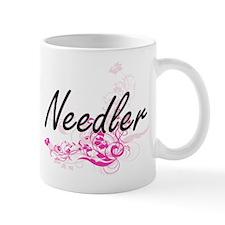 Needler Artistic Job Design with Flowers Mugs
